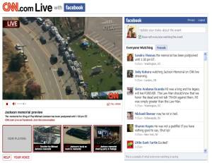 Screenshot of Facebook status stream accompanying CNN's live broadcast